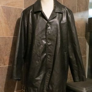 Merona Leather Mid Length Button Down Jacket